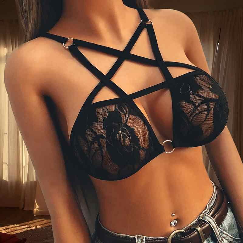 Adult Clothing Women Temptation Sexy Lace Underwear Five Pointed Star Strap Sexy Bra Hook-and- Eye Breathable Erotic Accessory