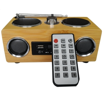 Upgraded Eco Friendly Hand Made Light Weight Mini Portable Bamboo Wood Boombox Card Speaker With Radio Function +Remote Contro