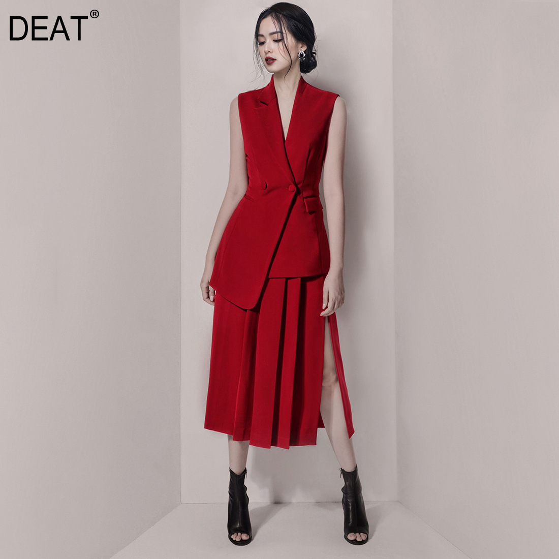 DEAT 2019 Spring New Lapel Sleeveless Double breasted Shirt Pleated Split Wine Red Skirt Fashion Sexy