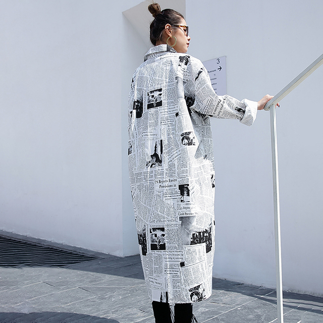 [EAM] – Blouse ample et irrégulière avec des imprimés pour femme, style veste grande taille et longue, manches longues, vêtement à revers, chemise blanche, collection printemps et automne, nouveau, 2020, JF008 6