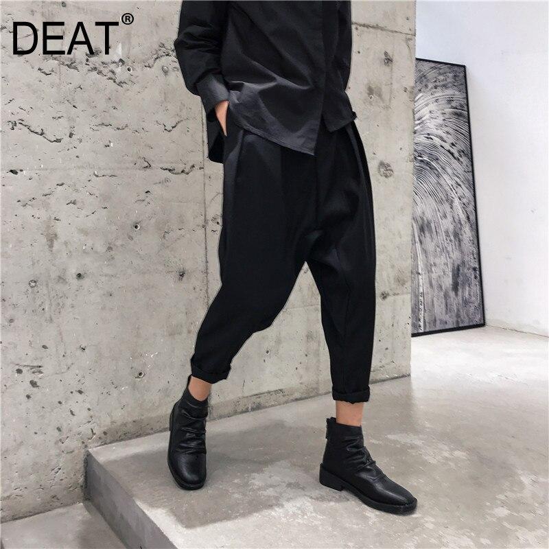 deat2019 spring summer new harem pants black high waist nine points loose fashion fashion all. Black Bedroom Furniture Sets. Home Design Ideas