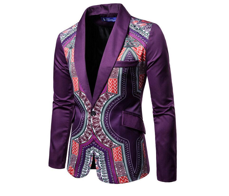 Men Suit Blazer Casual Slim Fit One Button Tuxedo Formal Suit Coat Jacket Top