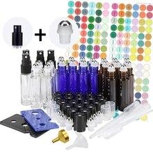 24 Pack 10ml Glass Roller Bottles for Essential Oils Stainless Steel Balls Spray Bottle