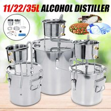 304 Stainless Steel Boiler Mini Alcohol Distiller Home Bar Use Wine Making Machine Water Whiskey Beer Making Tools Set 11/22/35L(China)
