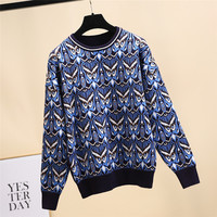 2019 Spring Vintage Women Blue Owl Print Knitted Sweaters Pullovers Runway Long Sleeve Female Harajuku Sweater Jumper Clothing