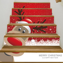 6pcs/set Christmas Decoration For Home Waterproof PVC Stair Stickers Christmas Floor Stairway Stickers Drop Shipping все цены