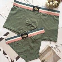 38cdbe06e7 2 pcs/set Solid Couple Panties Underwear Hot Brand Men Boxers Women Homme  Cuecas Cotton. 3 Colors Available