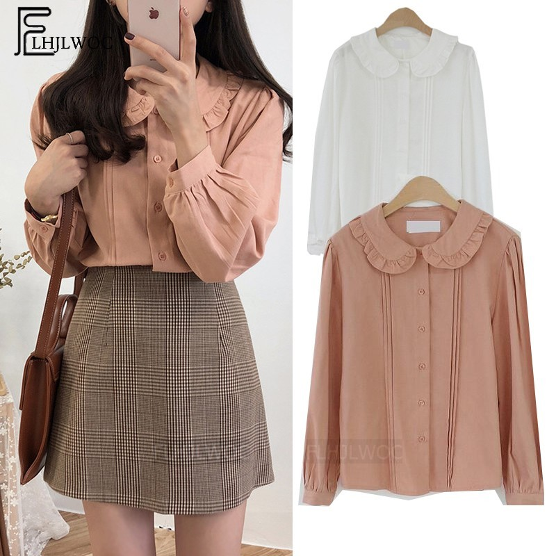 Autumn Sprng Button Shirts Blouses Basic Wear Tops Women Preppy Style Sweet Girls Pink White Button Peter Pan Collar Blouse 197