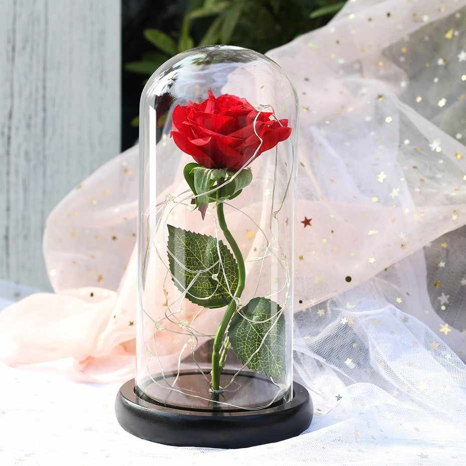 2019 Beauty and the Beast Red Rose in a Glass Dome on a Wooden Base for Valentine's Gifts