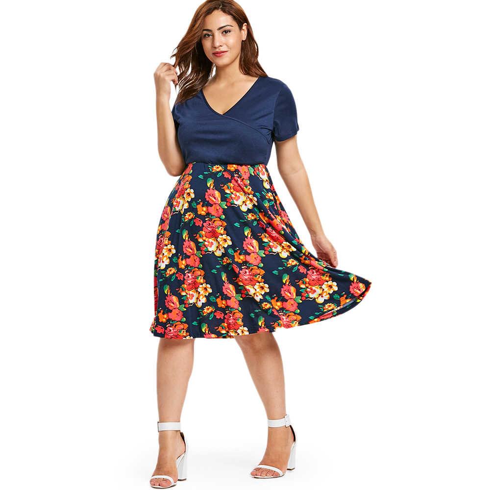Wipalo для женщин; Большие размеры Цветочный принт V образным вырезом по колено платье с коротким рукавом Высокая талия женский сарафан женские летние платья 5XL