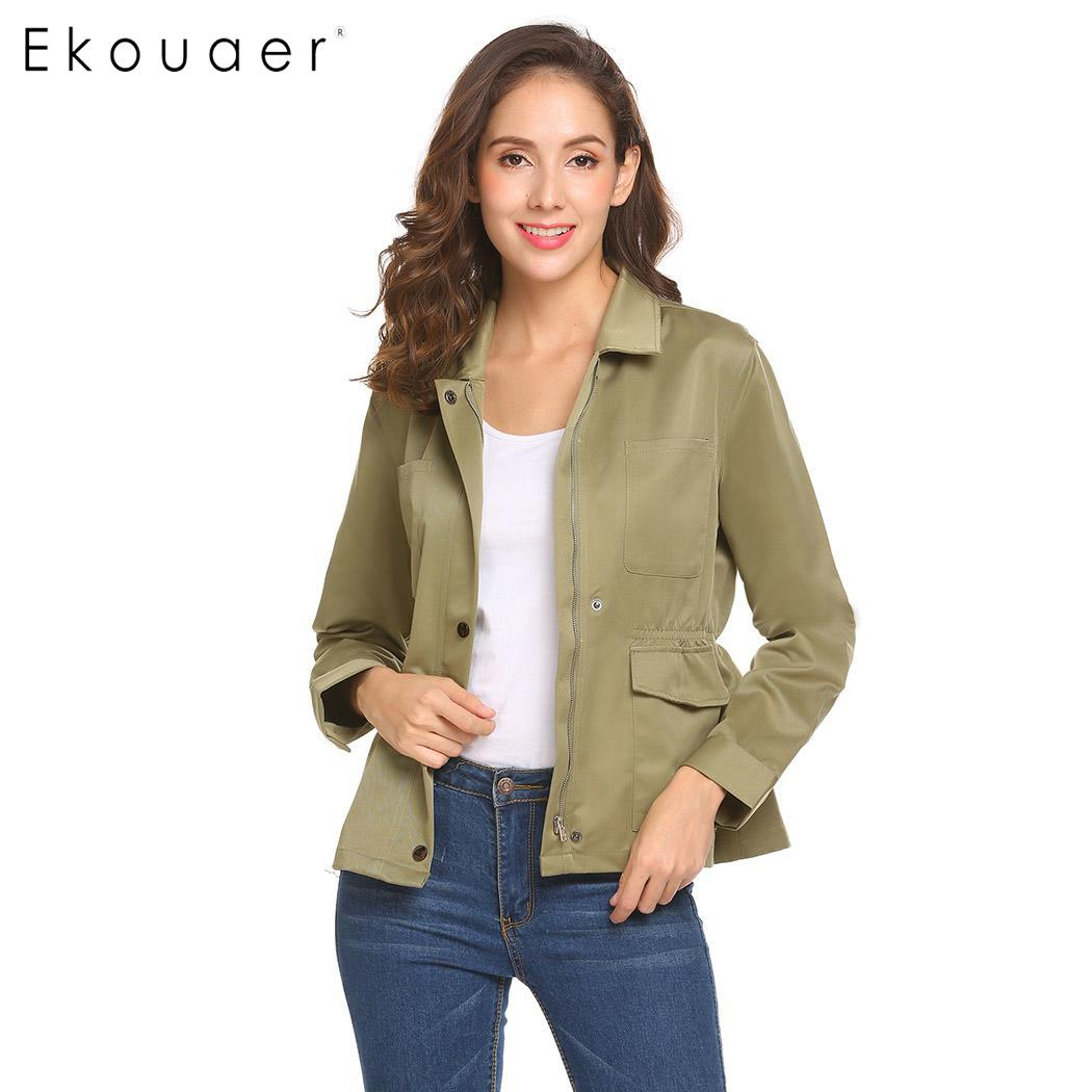 Ekouaer Women Short   Jackets   Spring Autumn   Basic     Jacket   Solid Long Sleeve Coat Zipper Pocket Button Casual Travel Outdoor   Jacket