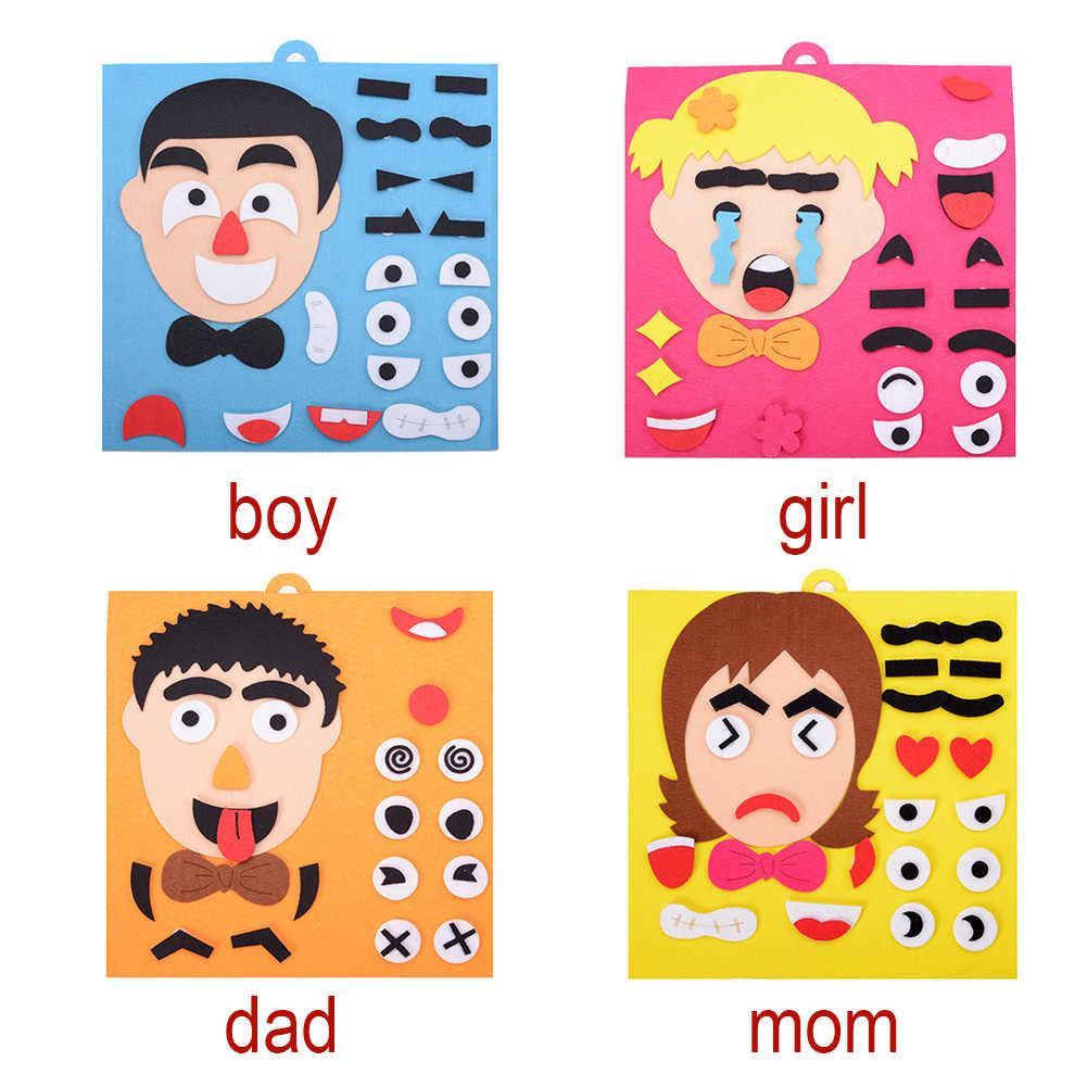 Brinquedo Educacional Da Primeira Infância Das Crianças dos miúdos Presentes Brinquedos DIY Emoção Mudança Pano Tecido Engraçado Mutável Expressão Facial