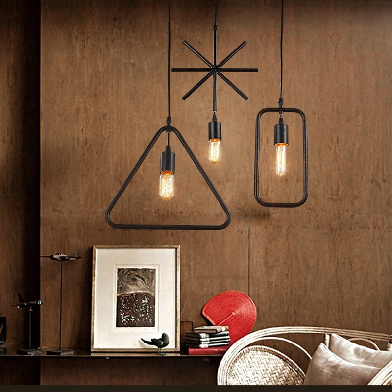 Nordic Metal Industrial Style Pendant Lights Square Triangle Round Hanging Lamp For Clothing Store Restaurant Cafe Home Decor