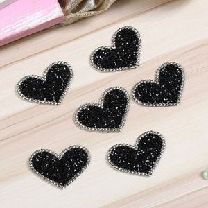 5pcs/lot Black Love Heart Melt Drilling Rhinestone Parches Ropa Iron On Patches Transfert Thermocollants(China)