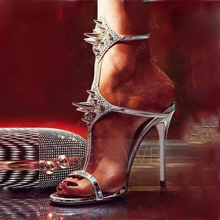 Sandale La Talon En À Avec Talons Ouvert Haut Pour Bride Sexy 2019 Or T Cristal argent Chaussures Partie strap Bordée Mince Bout Femme Cheville PwHX0