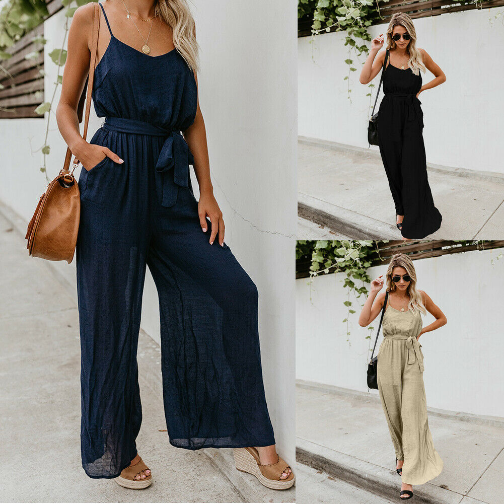 New Fashion Jumpsuits Women Summer Holiday   Romper   Ladies Sleeveless Solid Casual Beach Party Loose Wide Leg Long Pant Trousers