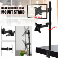 Adjustable Dual Monitor Stand Rotation Double Arm Desktop Holder for Computer Monitor within 14 24 Inch TV Mount Bracket Clamp