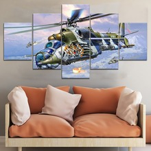5 Panel Helicopter3 War Canvas Printed Painting For Living Room Wall Decor HD Picture Artworks Poster5
