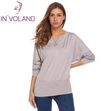 купить Brand Women Batwing Sleeve T Shirt Tops Casual Long Sleeve T-shirt Spring Autumn Pullover Solid Femininas Tee tshirts Clearance дешево