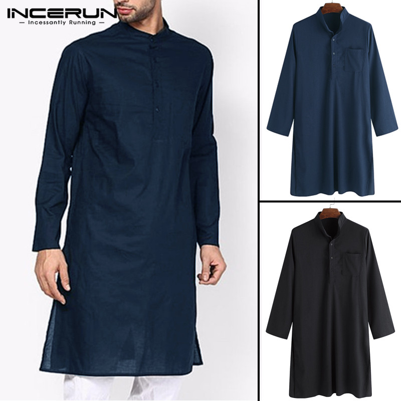 2020 Classic Indian Men Dress Robe Clothes  Suits Shirt Long Sleeve Shirt Male Loose Stand Collar Muslim Islamic  Tops