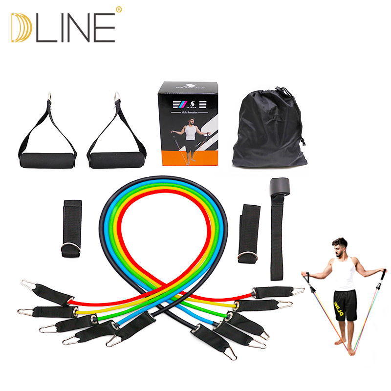 Fitness Equipment Resistance Rope Exercises Pilates Latex Tubing Expanders CrossFit Resistance Band 11pcs/set Sale