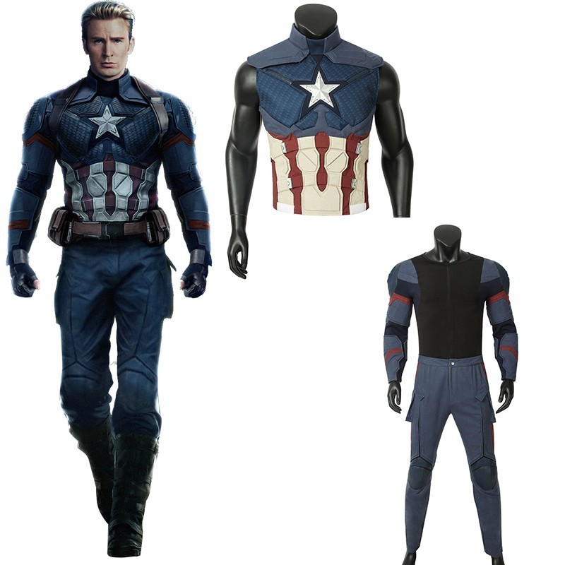 Avengers Endgame Captain America Costume Steven Rogers Cosplay Adult Halloween Christmas Carnival Party Only Jumpsuit Vest Glove