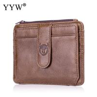 BULLCAPTAIN Black Brown 2019 Cowhide Leather Credit Card Holder Genuine Leather ID Card Holders Portable Men Business ID Wallet