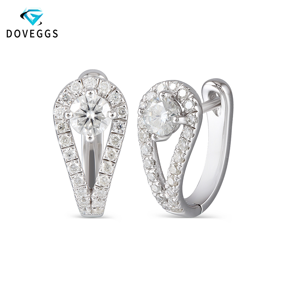DovEggs sterling solid 925 Silver 0 82CTW 4mm H Color Center Moissanite Hoop Earrings for Women