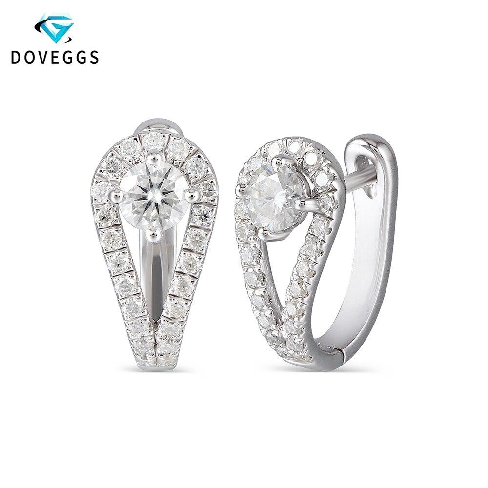 DovEggs Sterling Solid 925 Silver 0.82CTW 4mm H Color Center Moissanite Hoop Earrings For Women Engagement