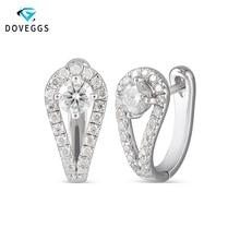 DovEggs sterling solid 925 Silver 0.82CTW 5mm H Color Center Moissanite Hoop Earrings for Women engagement