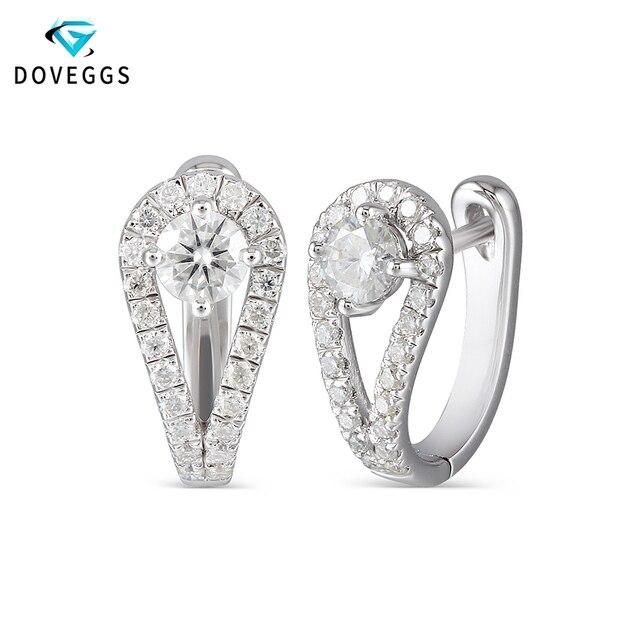 Doveggs sterling solid 925 prata 0.82ctw 5mm h cor centro moissanite hoop brincos para o noivado feminino