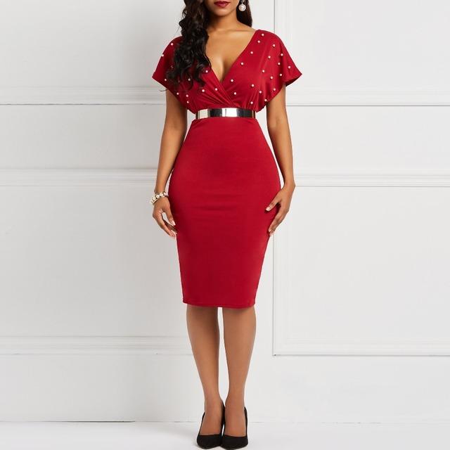 Short sleeve deep v-neck black bodycon dress