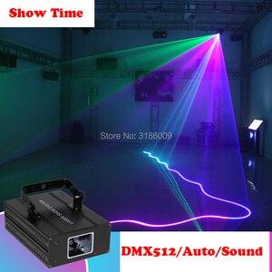 Image 2 - להראות זמן בית המפלגה DJ לייזר מקרן סורק קו לייזר DMX RGB שלב אפקט תאורת עבור דיסקו המפלגה חג המולד 1 חור לייזר להראות