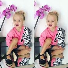 Толстовки с кисточками и рисунком зебры для маленьких девочек; хлопковая Футболка с 3D-принтом зебры; свитер; детская одежда; осенний свитер для девочек
