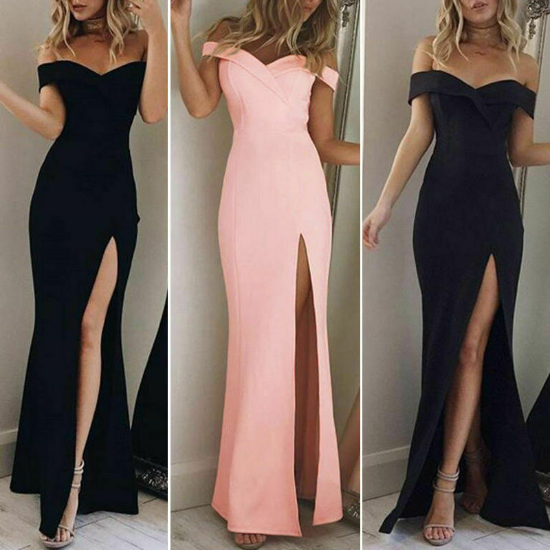2019 New Fashion Women's  Evening Party Holiday Beach Long  Dresses Summer Sexuality Dress With Shoulder Open