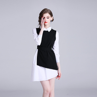 2019 New Spring Fashion Women dress Irregular + Elaborate Waistcoat Outfit Dresses Black And White 5223