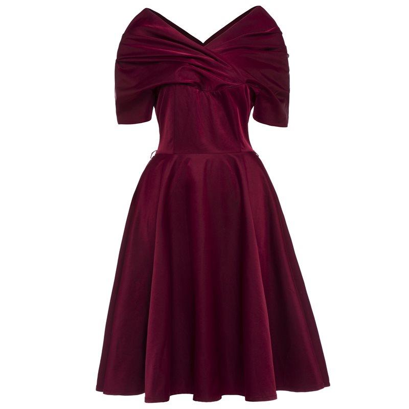 Для женщин пикантные платья для вечерние модные Винтаж вечернее Глубокий V элегантные дамы 1950 s линия качели высокая Талия спинки летн