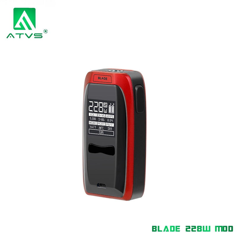 ATVS Blade 228W Box Mod Electronic Cigarettes 0.96*0.96 inch Big OLED Screen Without Dual 18650 Battery Vaper Mods Lightweight