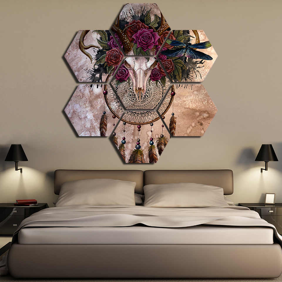 Kanvas Dinding Seni Poster Ruang Tamu Cetakan 7 Buah Antelope Tengkorak Dreamcatcher Lukisan Halloween Retro Tulang Gambar Dekorasi Rumah