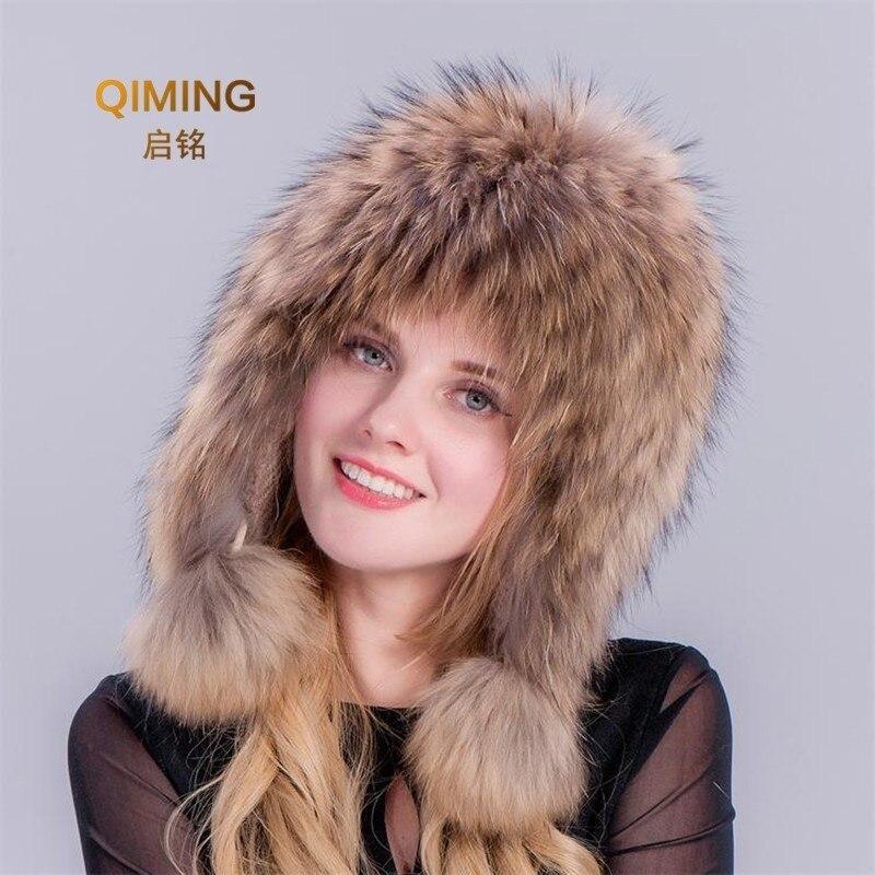 Nouveau automne hiver bonnets pour dames fourrure de raton laveur chapeaux pompon Pom Pom chapeau femme brun dôme cache-oreilles Lei Feng neige Cap femmes
