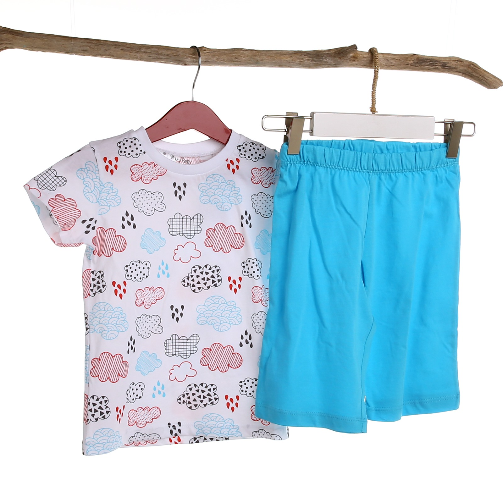 For My Baby Cloud Feature Printed Short Sleeve Pyjamas