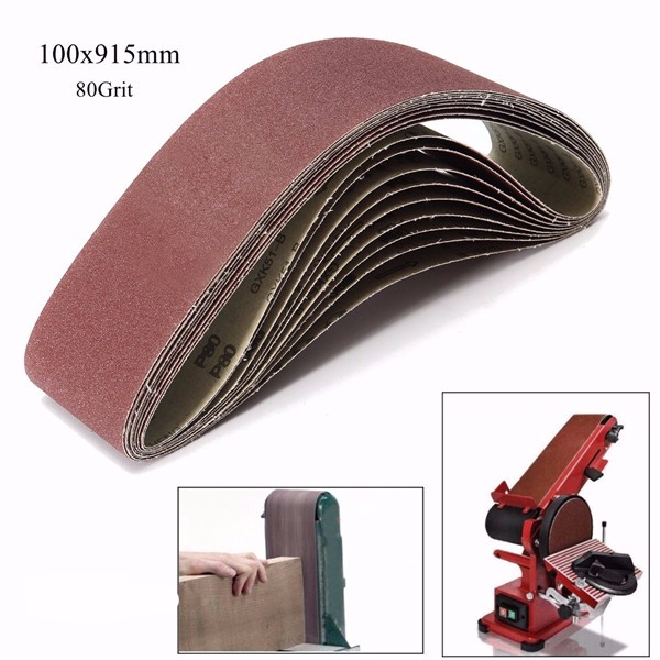 10pcs 80 Grit Aluminium Oxide Sanding Belts 100x915mm Zirconia Abrasive Tools10pcs 80 Grit Aluminium Oxide Sanding Belts 100x915mm Zirconia Abrasive Tools