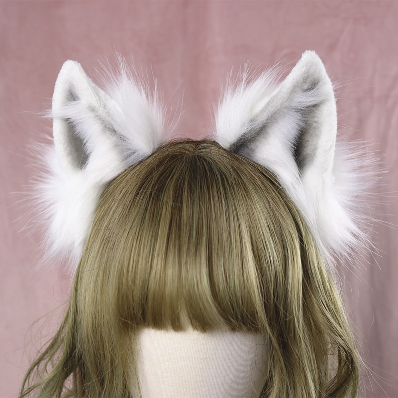 Lolita Girl Hair Accessories  Animal White Wolf Ears Hairband For Women Scrunchie Headwear Hand Work