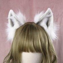 Lolita kız saç aksesuarları hayvan beyaz kurt kulaklar kafa bandı kadınlar için scrunchie şapkalar el işi