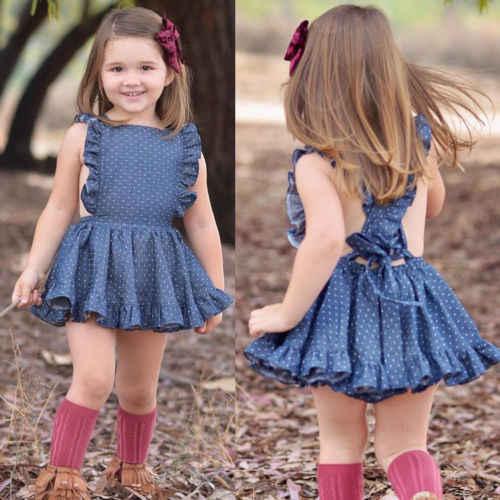 1-6 t Da Criança Do Bebê Meninas Sem Mangas Princesa Vestido de Festa Partido Cruz de Volta Vestido Azul Dot