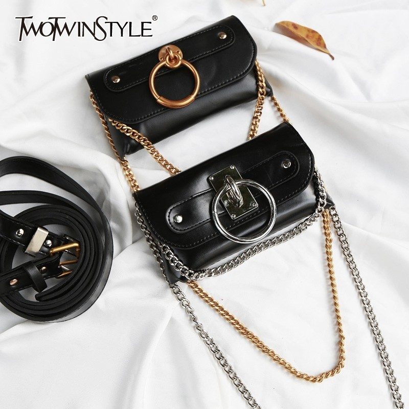TWOTWINSTYLE PU Leather Bag Female Chains Patchwork With Detachable Women  Belt Fashion Casual 2019 Spring Summer New