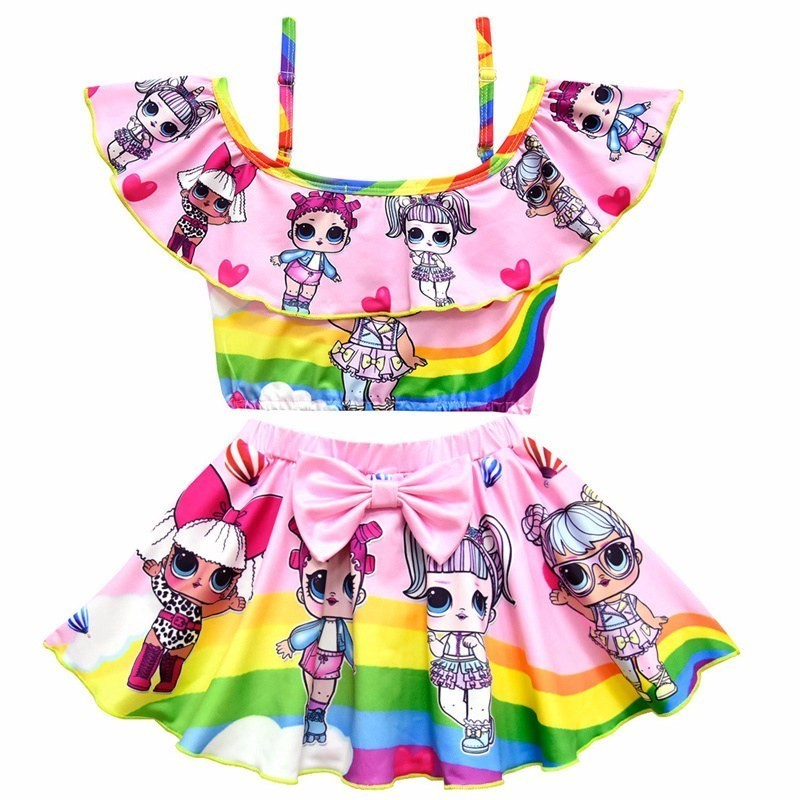 Girls Surprise Ruffle Swimsuit Two-piece Set Kids Bow Bikini Beachwear Birthday Present Masquerade Rainbow Doll Cosplay Costume