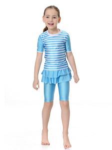 Image 4 - Kinder Mädchen Bademode Modest Islamischen Muslimischen Kurzarm Tops + Hosen Badeanzug Strand Schwimmen Anzug