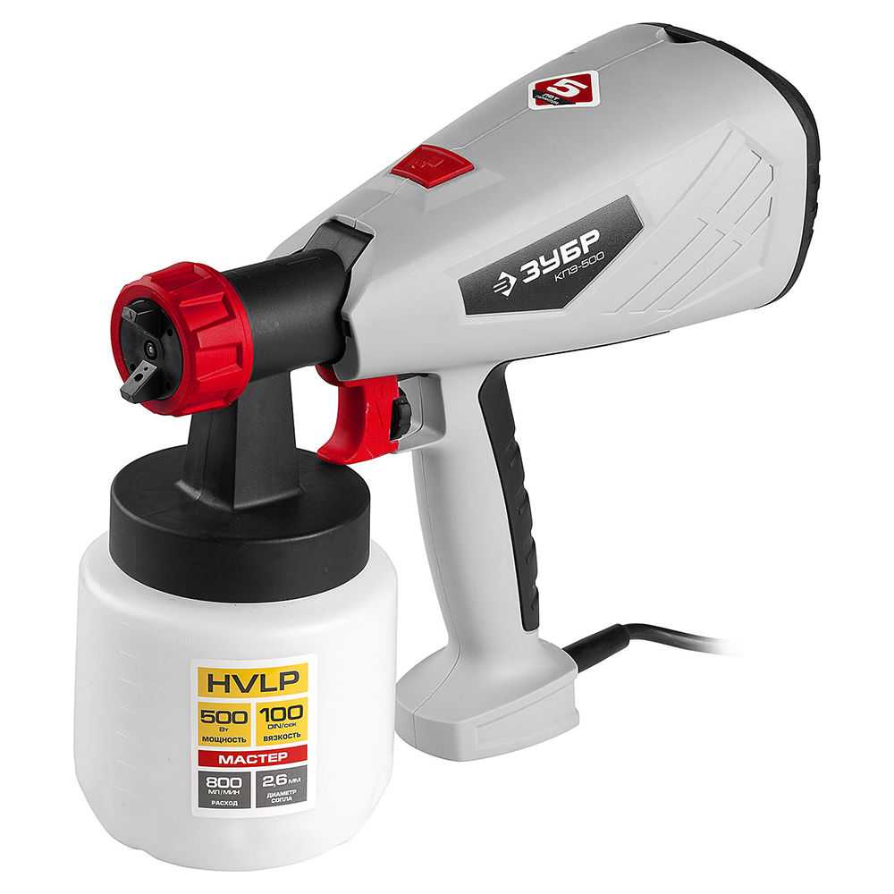 Electric spray gun ZUBR KPE-500 цена и фото