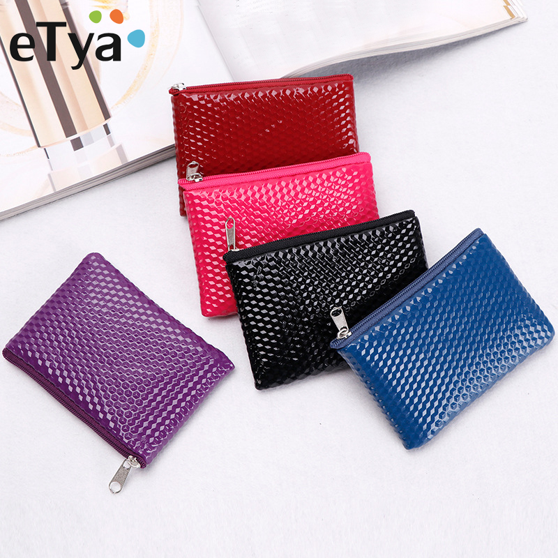 ETya Women Leather Coin Purse Zipper Cute Credit Card Holder Small Wallet Female Purses Headset Lipstick Storage Pouch Mini Bag